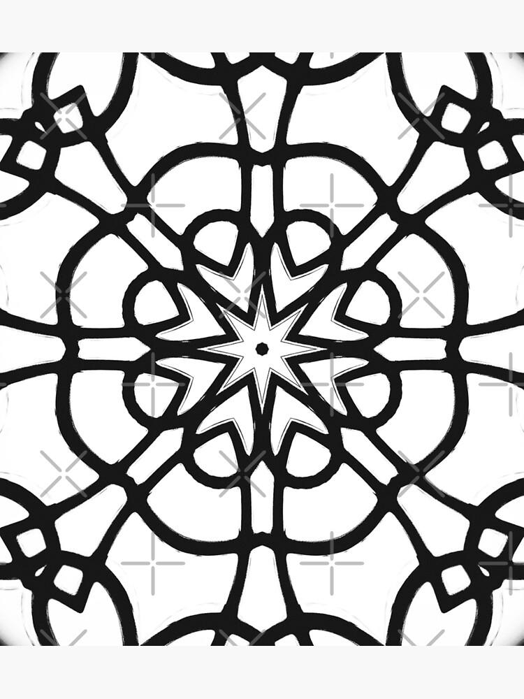 Monochrome One - Black and White Mandala Art by OneDayArt