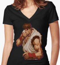Super Street Fighter II - Intro - Ryu Women's Fitted V-Neck T-Shirt