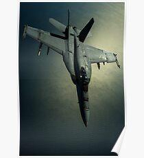Eine Hornisse US-Marine-F / A-18E über Südwestasien. Poster