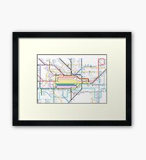 London Pride Tube Map (no text) Framed Print