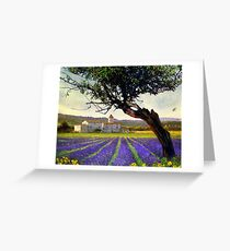lavender fields and chalet at sunset Greeting Card