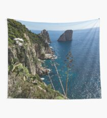 Faraglioni Sea Stacks and Agave Bloom Spikes - the Magic of Capri, Italy Wall Tapestry