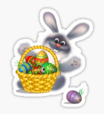 Easter Bunny With Egg Basket Sticker