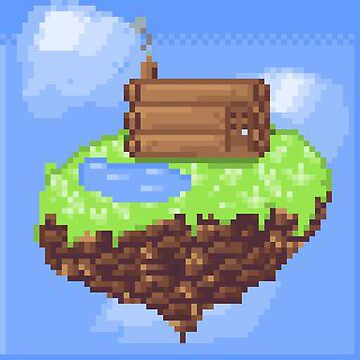 Flying Island- Pixel art by Ombrage