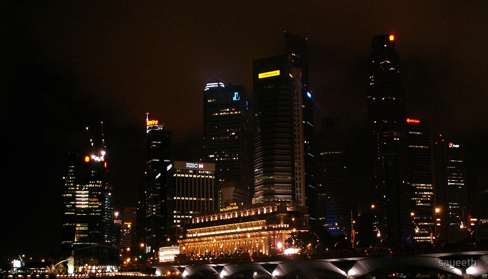 Central Business District Night Scene in Singapore by sayeeth