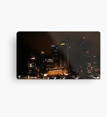 Central Business District Night Scene in Singapore Metal Print