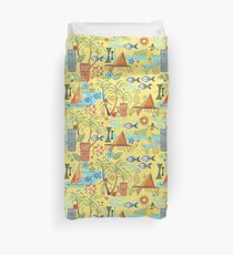 Mid Century Hawaiian Vacation with Tikis and Hula Girls Duvet Cover