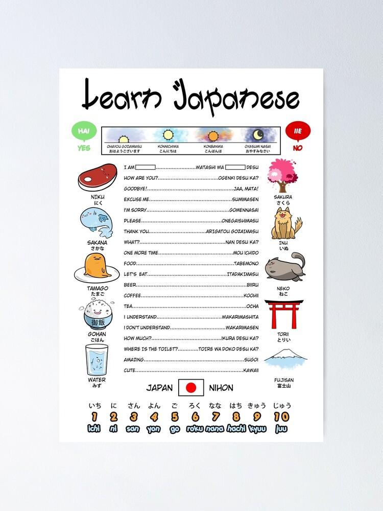 Poster ''Une façon amusante d'apprendre le japonais': autre vue
