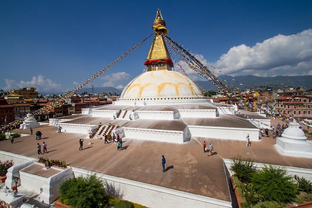 Stupa in Boudhanath, Kathmandu, Nepal by journeysincolor