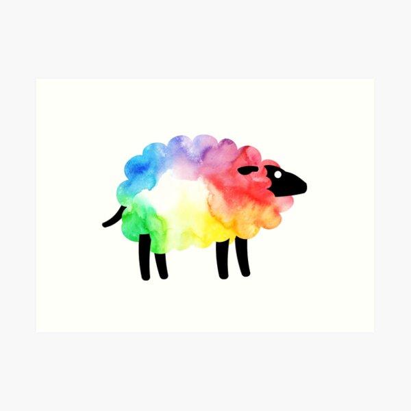 Rainbow Sheep Art Print