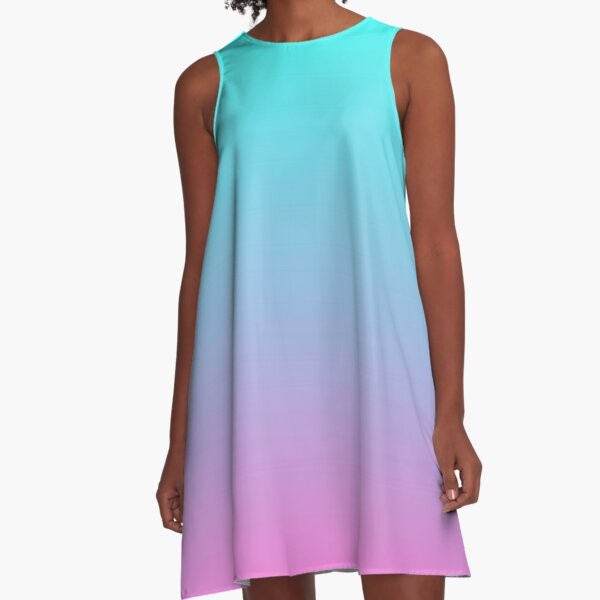 mermaid colours pastel fuchsia pink turquoise aqua blue A-Line Dress