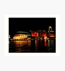 Singapore Central Business District Night Scene Art Print