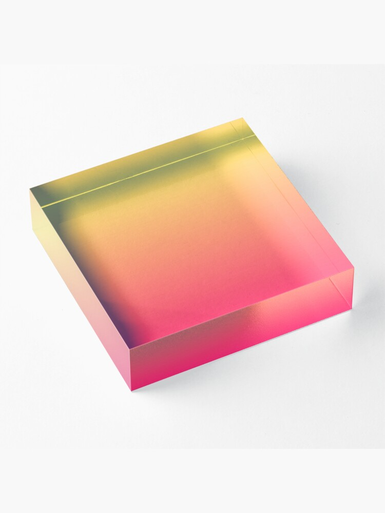 Alternate view of modern chic girly hot pink orange fuschia ombre Acrylic Block