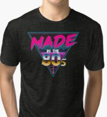 Made in The 80s - Born in Eighties retro Neon Grid Tri-blend T-Shirt