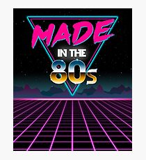 Made in The 80s - Born in Eighties retro Neon Grid Photographic Print