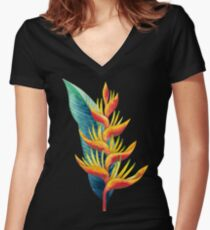 Watercolor heliconia Fitted V-Neck T-Shirt