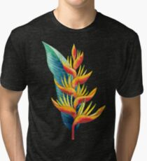 Watercolor heliconia Tri-blend T-Shirt