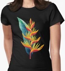 Watercolor heliconia Womens Fitted T-Shirt