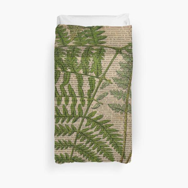 vintage foliage hipster botanical print fern leaves Duvet Cover