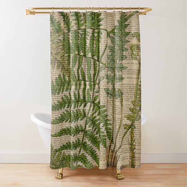 vintage foliage hipster botanical print fern leaves Shower Curtain
