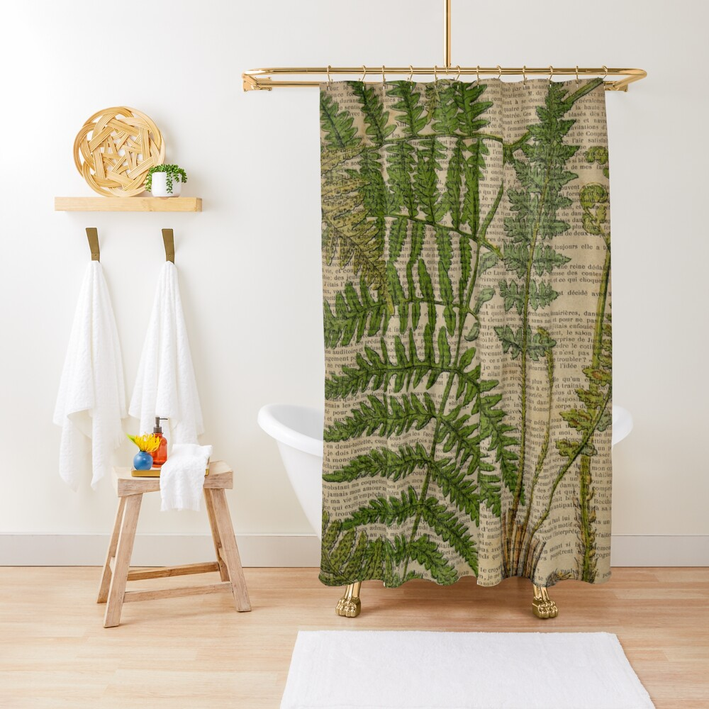 vintage foliage hipster botanical print fern leaves Shower Curtain