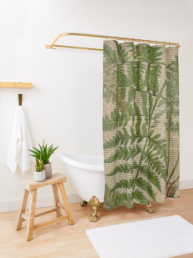 Alternate view of vintage foliage hipster botanical print fern leaves Shower Curtain