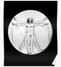 LEONARDO, Da Vinci, The Vitruvian Man, Naked, CIRCLE, c.1485, Accademia, Venice, BLACK Poster
