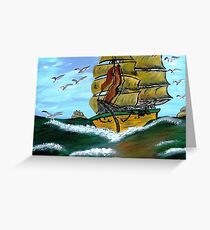 Columbus' Sailing Ships Greeting Card