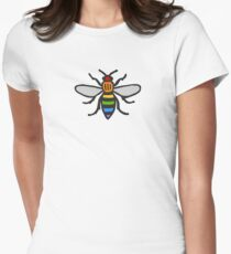 Manchester Bee, Rainbow Edition Women's Fitted T-Shirt
