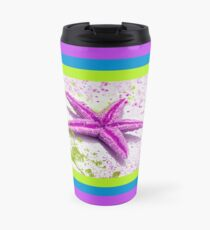 Paint Spattered Star Fish in Purple Travel Mug