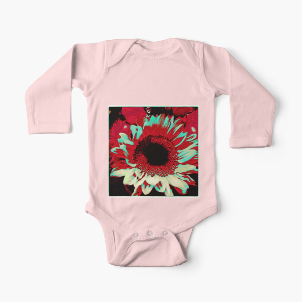 Bright Floral - Fiery Sunflower Design Baby One-Piece