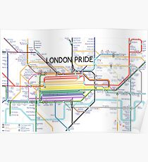London Pride Tube Map (with text) Poster