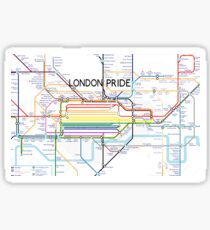 London Pride Tube Map (with text) Sticker