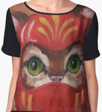 Daruma Kitty Painting Women's Chiffon Top