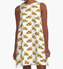pizza seamless doodle pattern A-Line Dress
