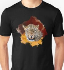 Snarling Leopard on Painted Background | African Wildlife T-Shirt