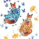 Foxy Friends - Kitsune with ginkgo and butterflies by Meredith Dillman