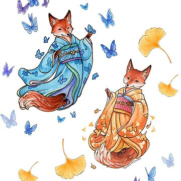Foxy Friends - Kitsune with ginkgo and butterflies by meredithdillman