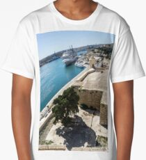 Valletta Grand Harbour - High Noon Shadows and Cruise Ships Long T-Shirt