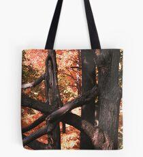 Orange Splash and Interlocked Tree Trunks Tote Bag