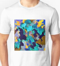 psychedelic geometric polygon abstract pattern in green blue brown yellow Unisex T-Shirt
