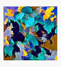 psychedelic geometric polygon abstract pattern in green blue brown yellow Photographic Print