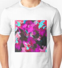 psychedelic geometric polygon abstract pattern in purple pink blue Unisex T-Shirt