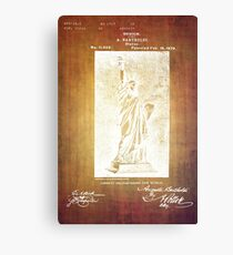 Statue If Liberty Original Patent By Bartholdi 1879 Canvas Print
