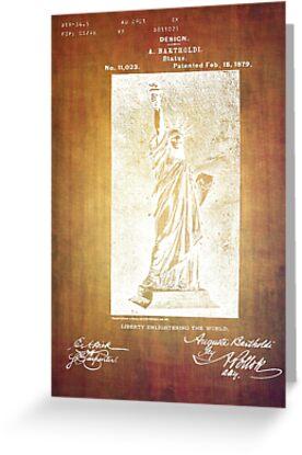 Statue If Liberty Original Patent By Bartholdi 1879 by Eti Reid
