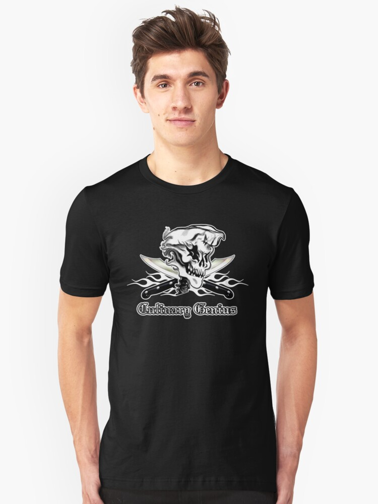Chef Skull 10: Culinary Genius 3 white flames Unisex T-Shirt Front