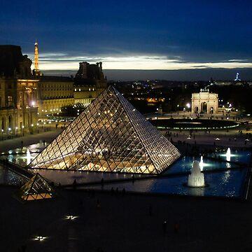 Paris - Louvre Pyramid at Night by GeorgiaM