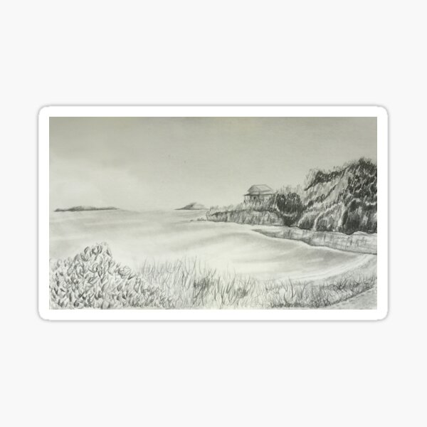 Maine Coastal Drawing Sticker