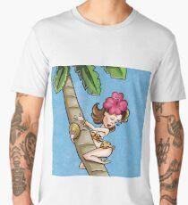 Brunette Cartoon Pinup Climbing a Palm Tree Men's Premium T-Shirt