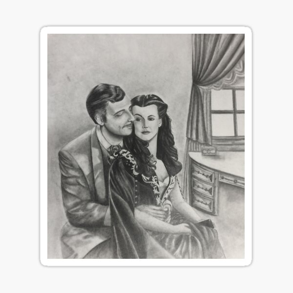 Gone With the Wind Boudoir Drawing II Sticker